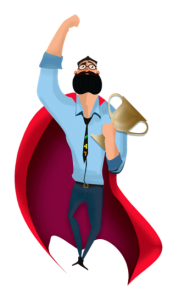 Gamifinnator with beard and blue shirt in a superman position with red cape and holding a winner's trophy