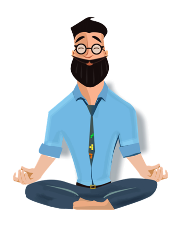 Gamifinnator with blue shirt and beard in a relaxed yoga position